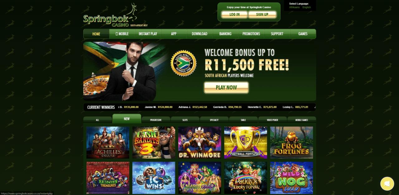 Springbok Casino home page desktop