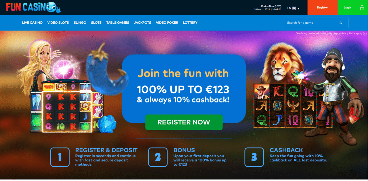 Fun Casino home page desktop