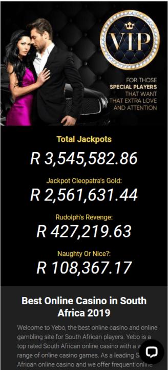 Yebo Casino JackPot Mobile