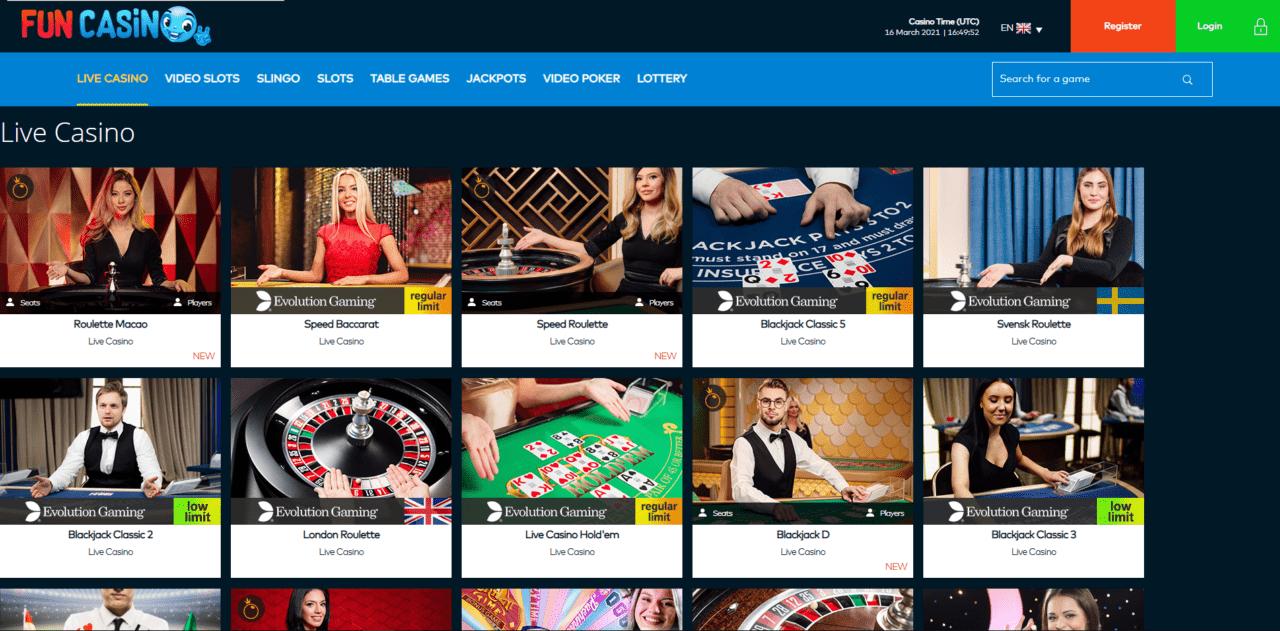 Fun Casino Live Casino Desktop