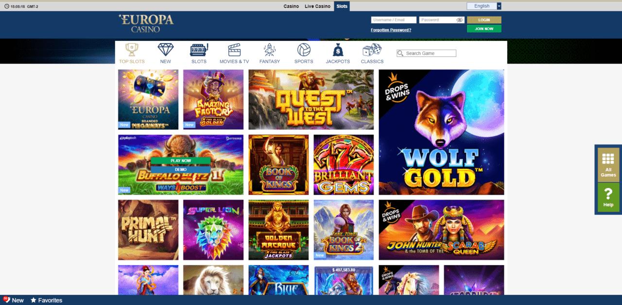 Europa Casino slots desktop