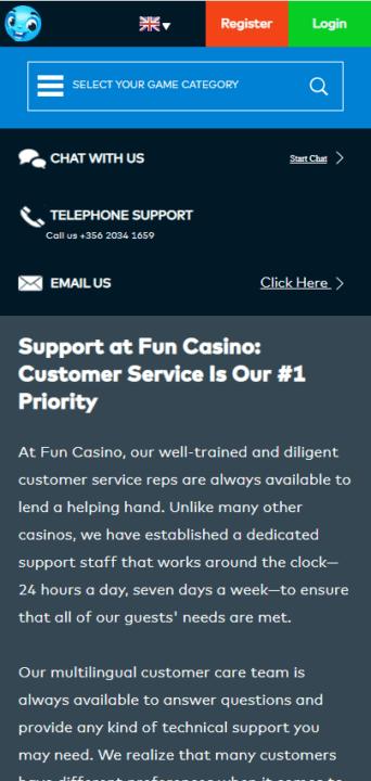 Fun Casino Support mobile