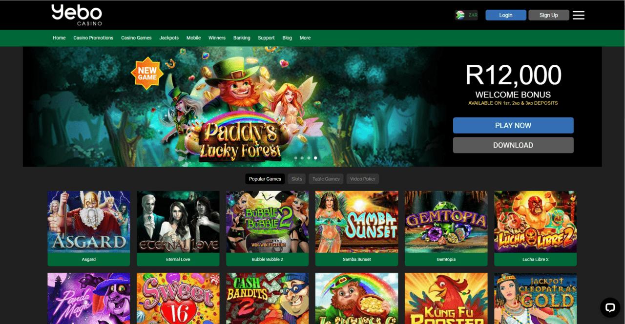 Yebo Casino home page desktop