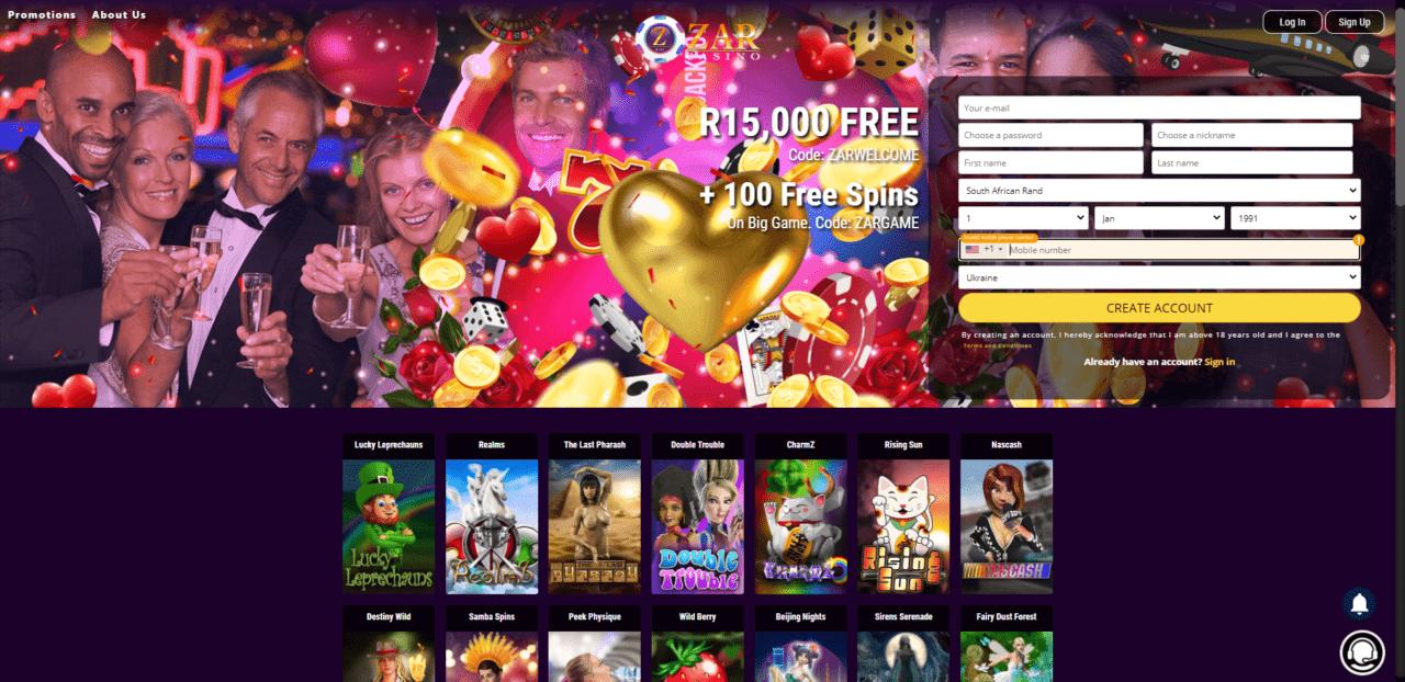 ZAR Casino Homepage Desktop