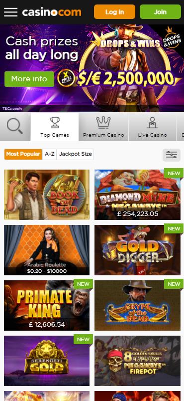 Casino.com Games Mobile