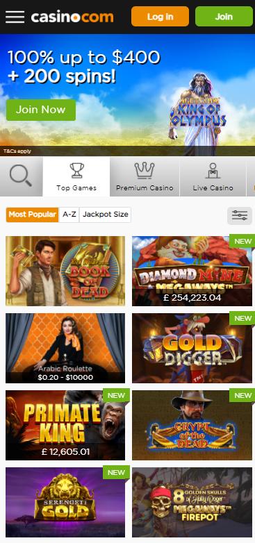 Casino.com home page mobile