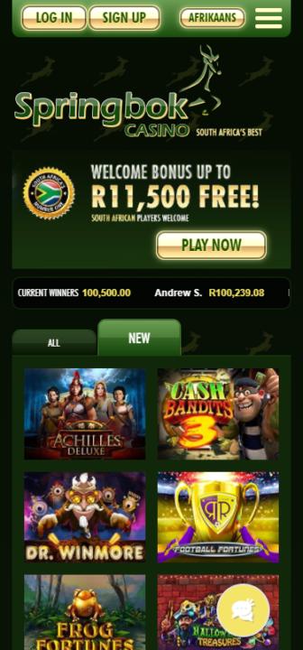 Springbok home page mobile