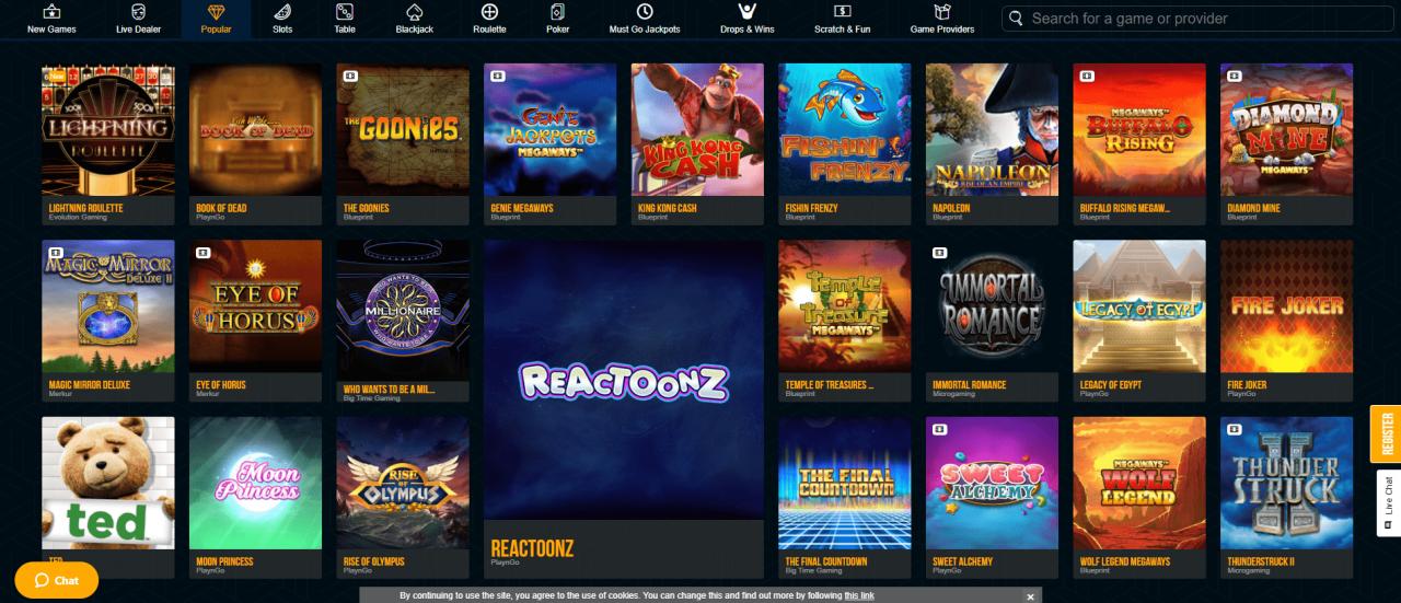 Dream Vegas Games Desktop